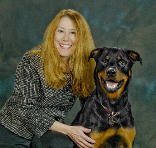 Jane Brydon with smiling Scout Dog